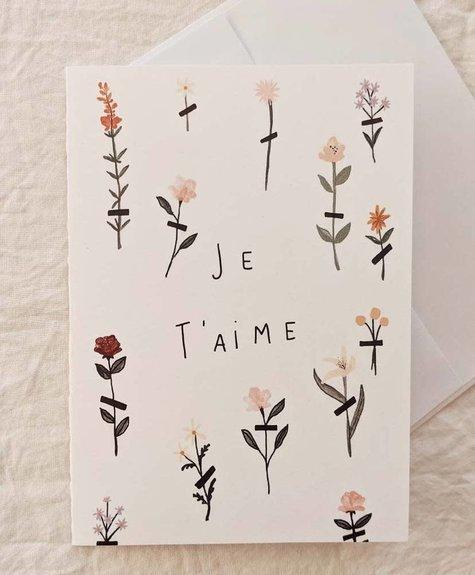 Mimi - Auguste Je t'aime fleurs - Carte de souhaits