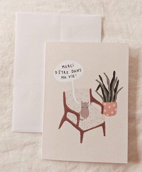 Mimi - Auguste Merci chat - Carte de souhaits