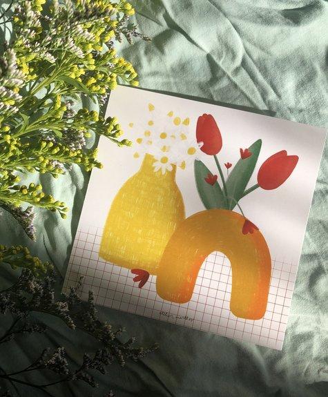 Atelier Marthes Vases et tulipes - Carte de souhaits