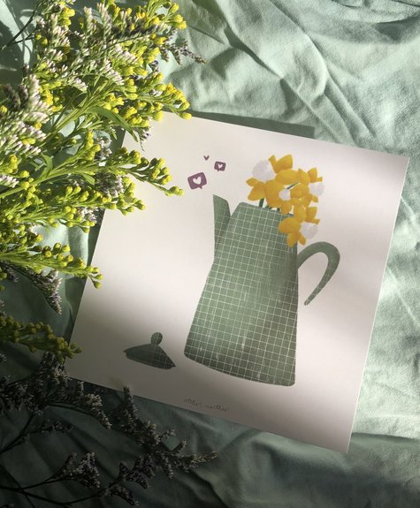 Atelier Marthes Pitcher and daffodils - Wish card