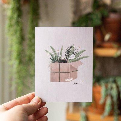 Sarah La Lune Carte de souhait - Chat et plantes