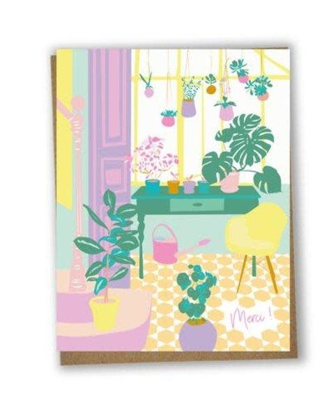 Lili Graffiti Merci Plantes - Carte de souhaits