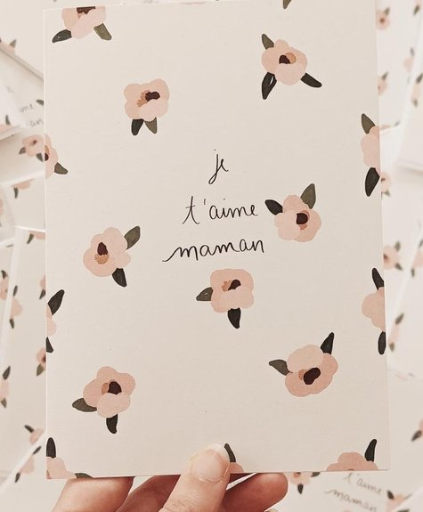 Mimi - Auguste Je t'aime Maman flowers - Greeting card