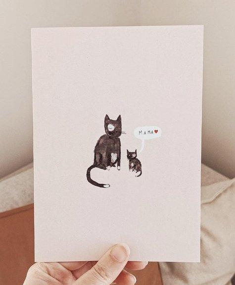 Mimi - Auguste Chat Mama - Carte de souhait