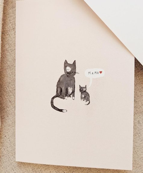 Mimi - Auguste Mama Cat - Greeting card