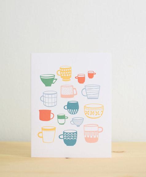 Les Paquetteries Tasses colorées - Carte