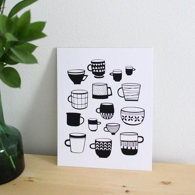 Les Paquetteries Affiche Tasses - Noir et blanc