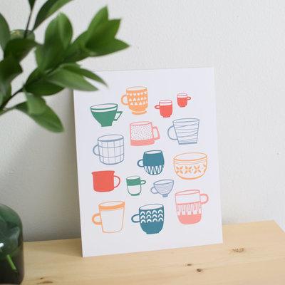 Les Paquetteries Affiche Tasses - Colorées