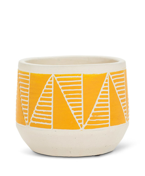 Abbott Etched Planter - Yellow