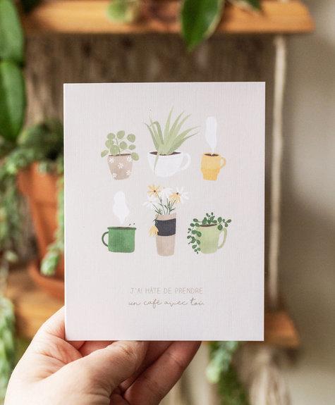 Sarah La Lune Greeting card - Coffee with you