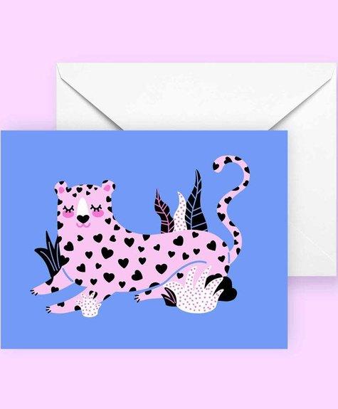 Club Pastel Carte de souhaits - Leopard