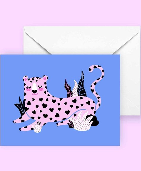 Club Pastel Greeting card - Leopard