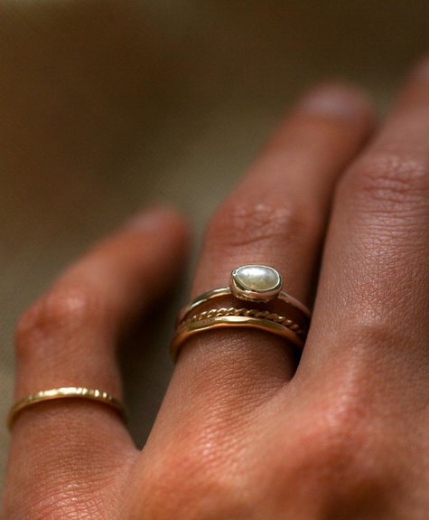 Côte Ouest Silver pearl ring