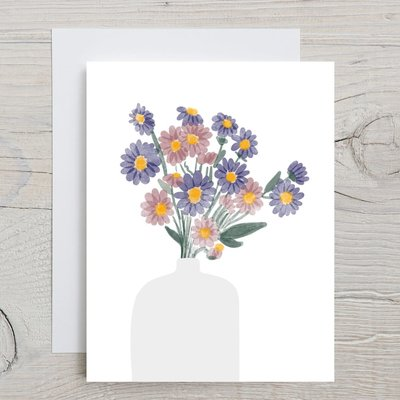 Glenda Cast Greeting Card - Blue flowers for you