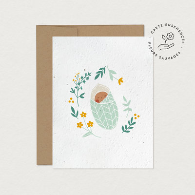 Mimosa Greeting Card Mim - Small cocoon (seeded)