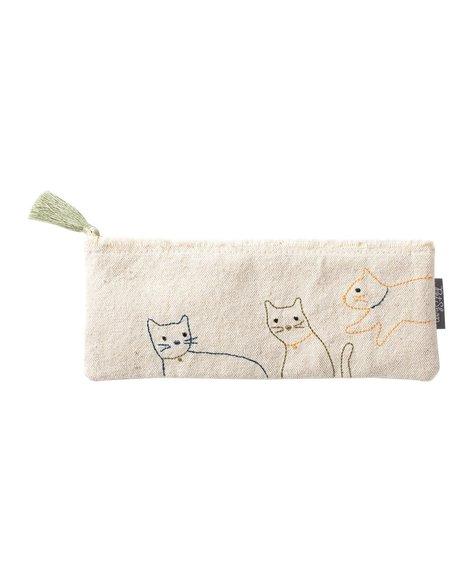 Fringe Cat Stitched Pouch - S