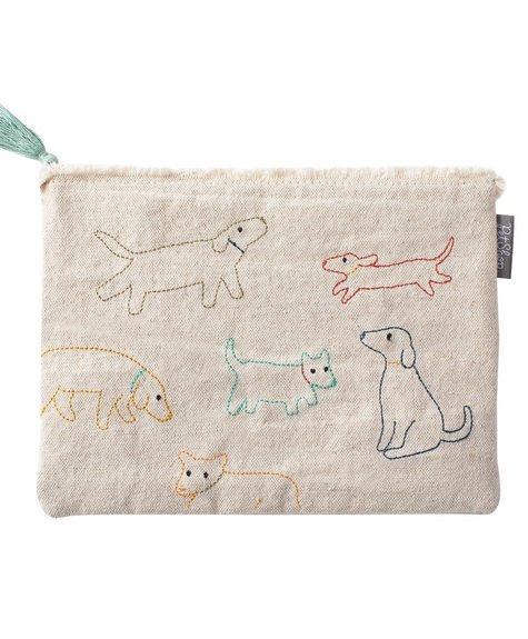 Fringe Dog Stitched Pouch - M