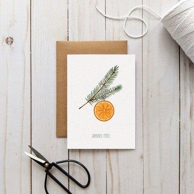 Joannie Houle Greeting card - Orange et pine branch