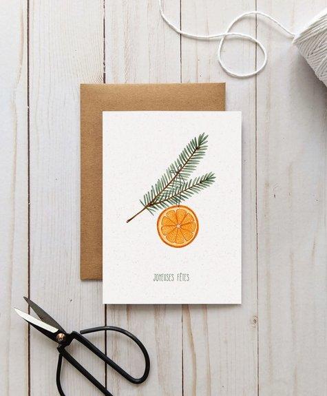 Joannie Houle Greeting card Joannie Houle - Orange et pine branch