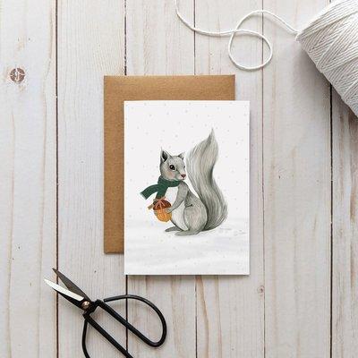 Joannie Houle Greeting card - Winter Squirrel
