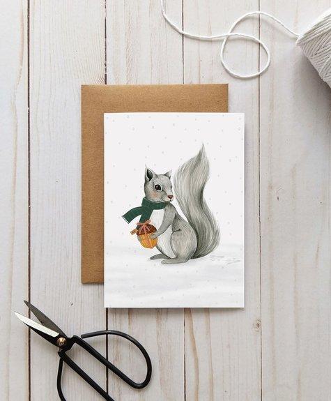 Joannie Houle Greeting card Joannie Houle - Winter Squirrel