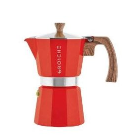 Grosche Milano- Red Stove Top Espresso Maker 6 cup