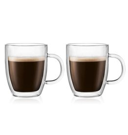 Bodum Bodum Bistro Double Wall Thermo Glass Mugs  10fl.oz