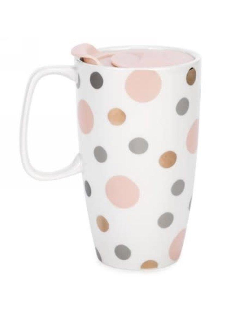 Travel Mug - Pink & Grey Polka Dot