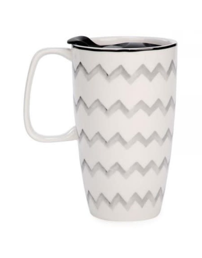 Travel Mug - Grey Zigzag Motif