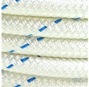 "Line - ""Probraid"" 3/8"" White/Bl Tracer (Polyester Yacht Braid) Single"