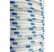 "Line - ""Probraid"" 5/16"" White/Bl Tracer (Polyester Yacht Braid) Single"