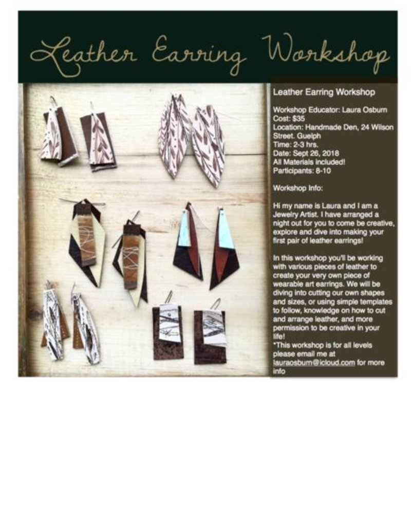 The Handmade Den Leather Earring Class
