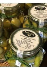 Delizia Gordal Olives Stuffed W/Garlic & Green Chili 20 OZ.