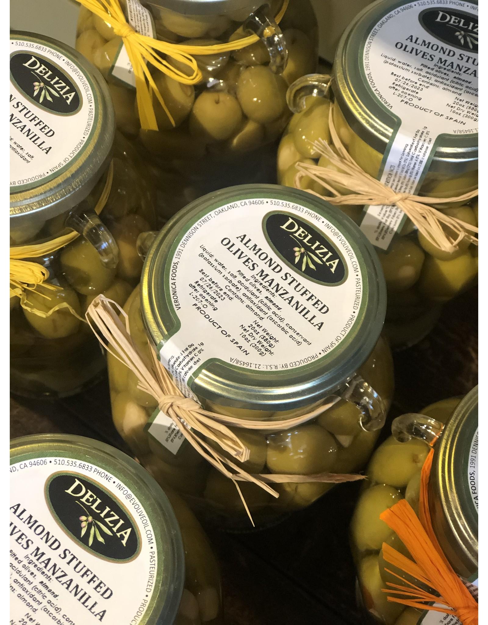 Delizia Manzanilla Olive Stuffed W/Almond 20 OZ.