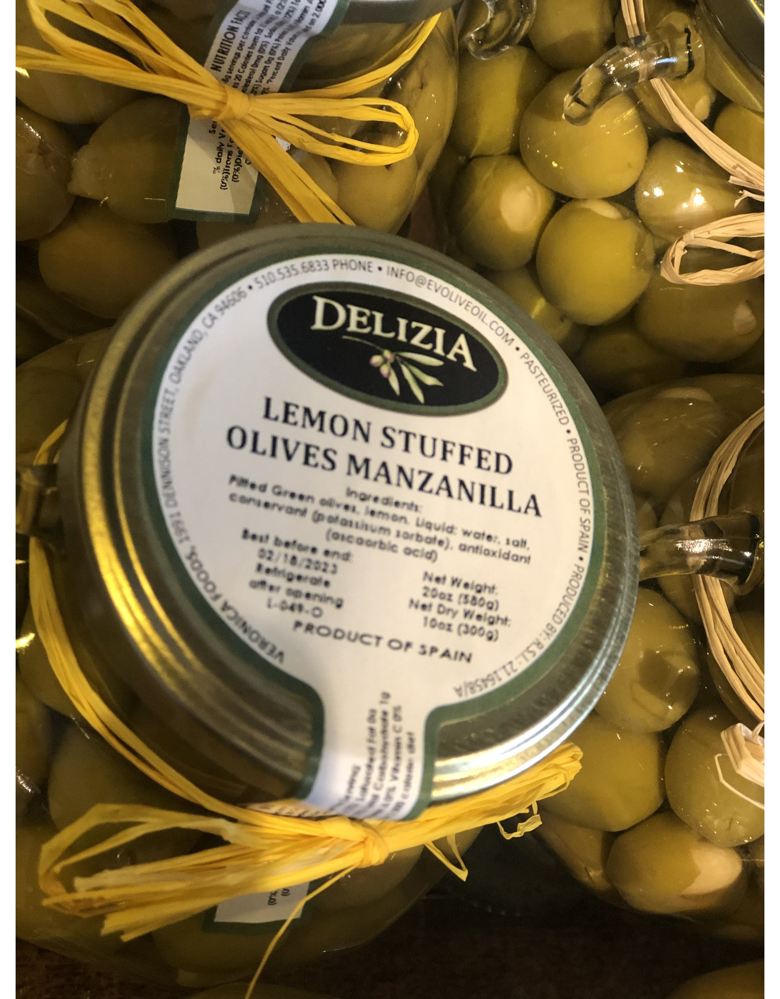 Delizia Manzanilla Olives Stuffed W/Lemon 20 OZ.