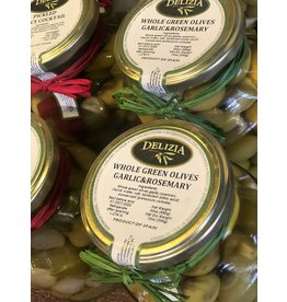 Delizia Manzanilla Olive Stuffed W/Rosemary & Garlic 20 OZ.