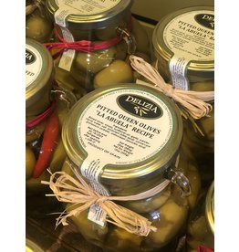 "Delizia Pitted Queen Olives W/Onion ""La Abuela"" 20 OZ."