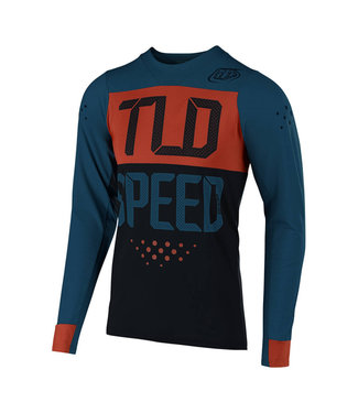 TROY LEE DESIGN SKYLINE L/S AIR JERSEY; SPEEDSHOP AIR FORCE BLUE / CLAY