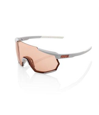 100% SP20 - RACETRAP - Soft Tact Stone Grey - Hiper Coral Lens
