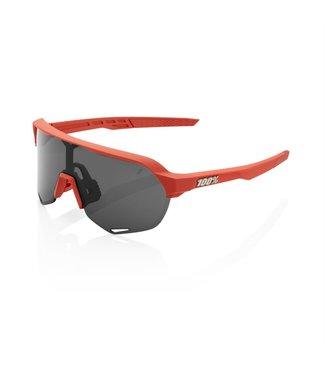 100% S2 Sunglasses, Soft Tact Coral frame - Smoke Lens