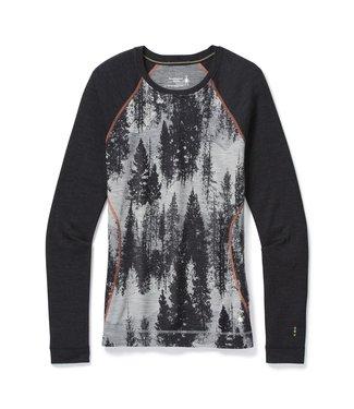 SMARTWOOL Vêtement de base à encolure ronde et motif Merino 250  FEM Paysage forêt gris pâle