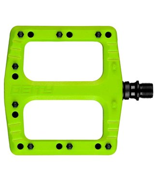 DEITY Deftrap, Platform Pedals, Body: Nylon, Spindle: Cr-Mo, Green, Pair