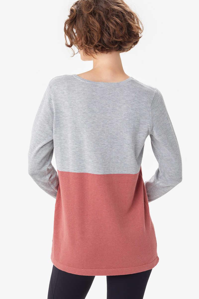 Lole Cozy Martha Sweater, Light Grey Colourblock