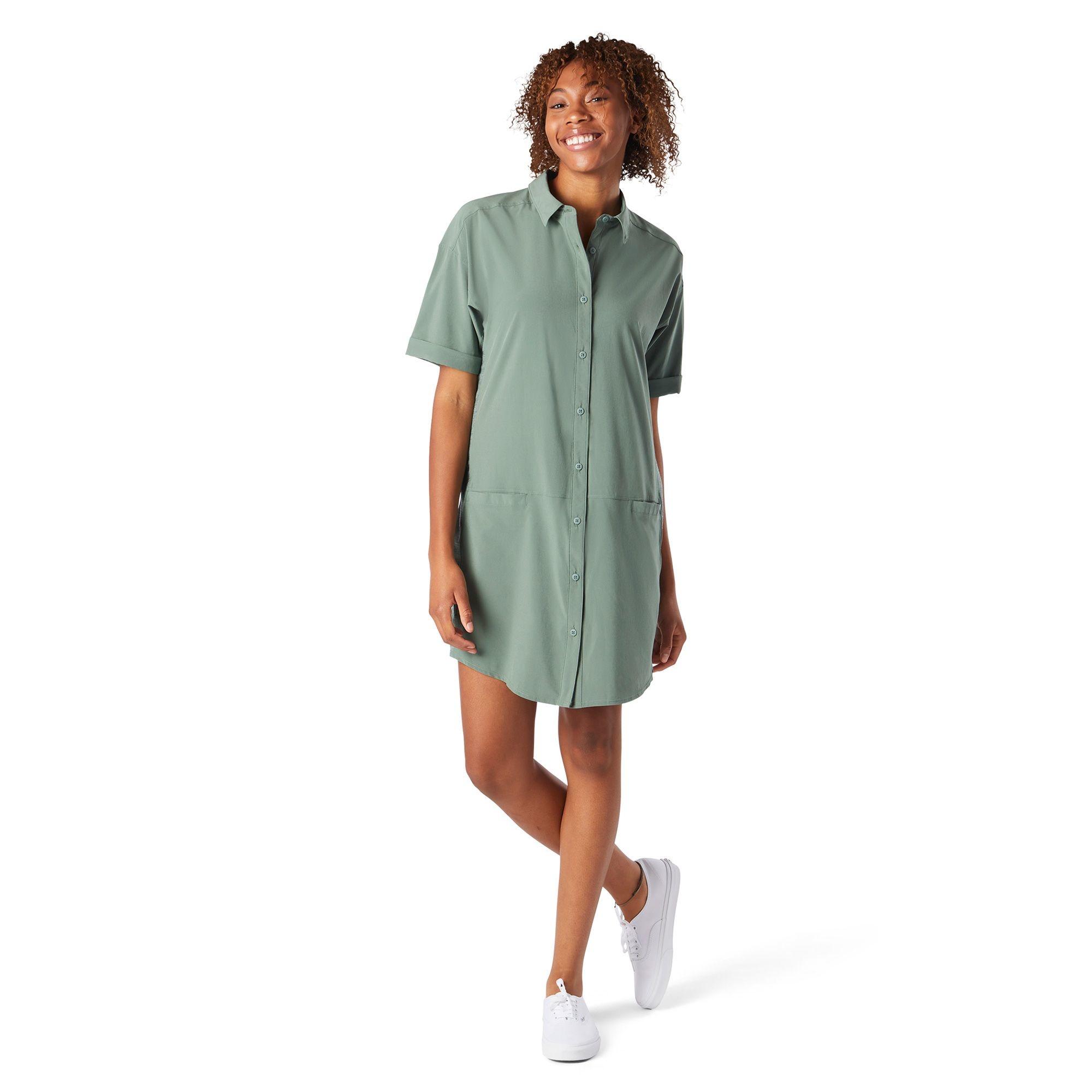 W Merino Sport Shirt Dress, Sage
