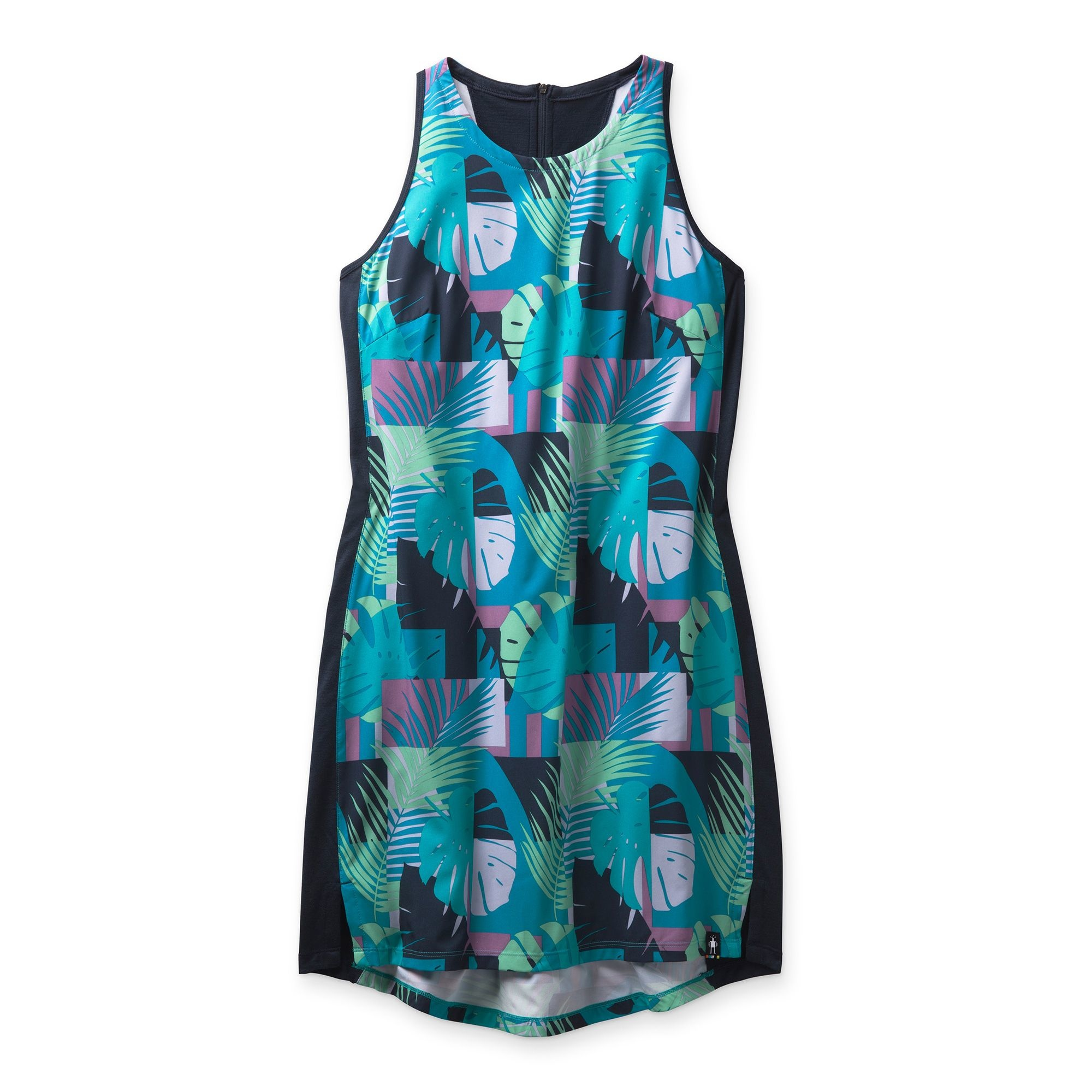 Merino Sport Tank Dress, Deep Navy Palm