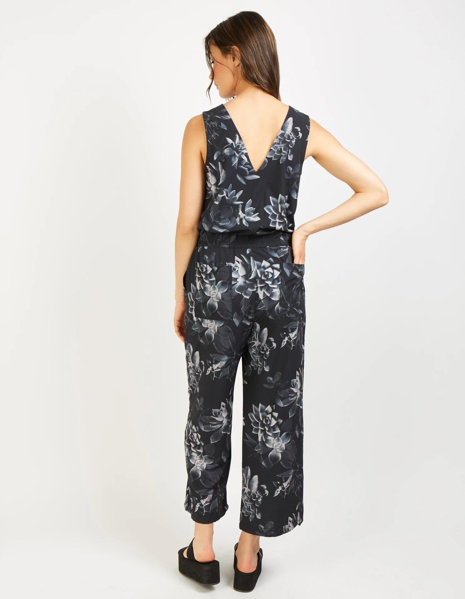 Etosha Jumpsuit, Black Succulent