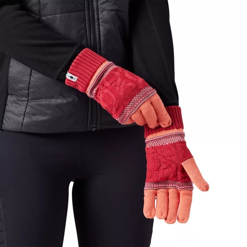 Popcorn Cable Glove, Sunset Coral