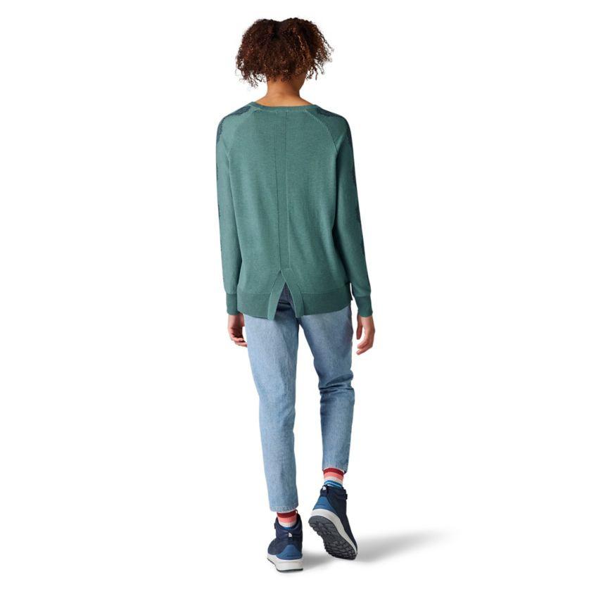 W Shadow Pine Needlepoint Crew Sweater, Blue Spruce