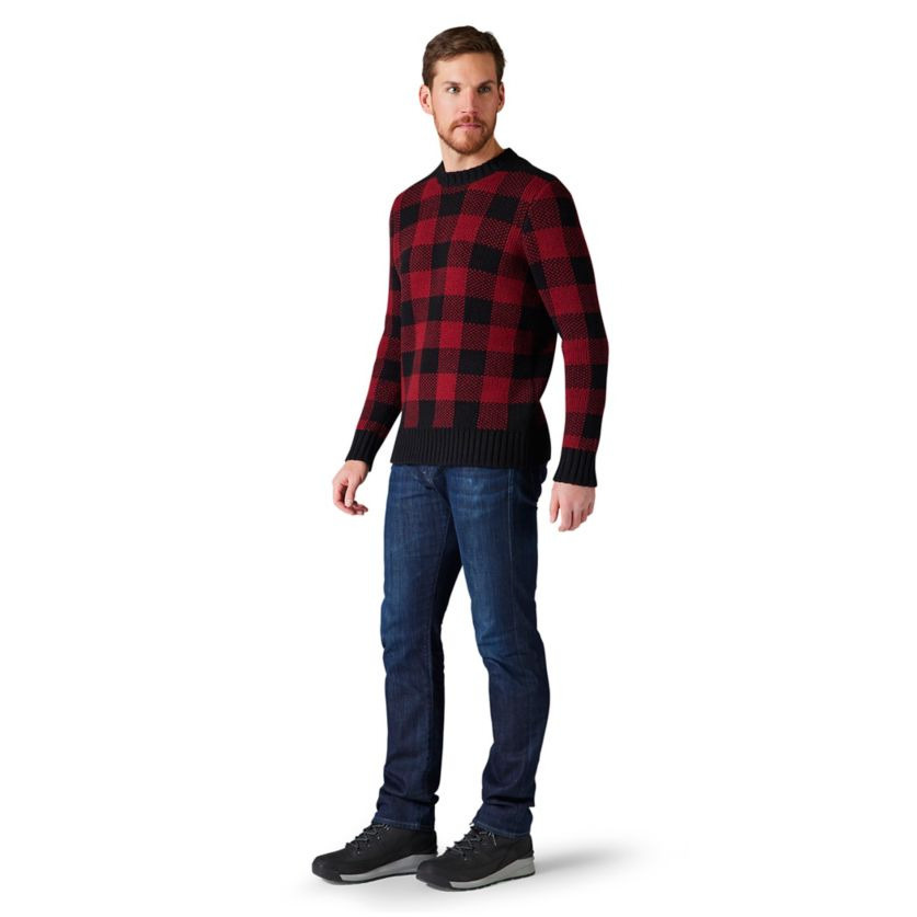 Cozy Lodge Buff Check Sweater, Red