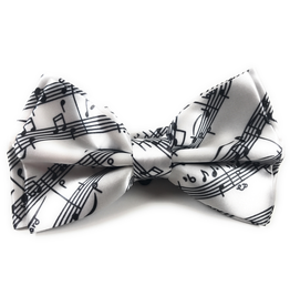 Timeless Collection White Bow Tie with Black Musical Design